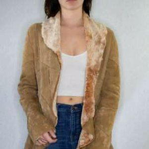 Vintage Leather Shawl Collar Shearling Coat x Medi